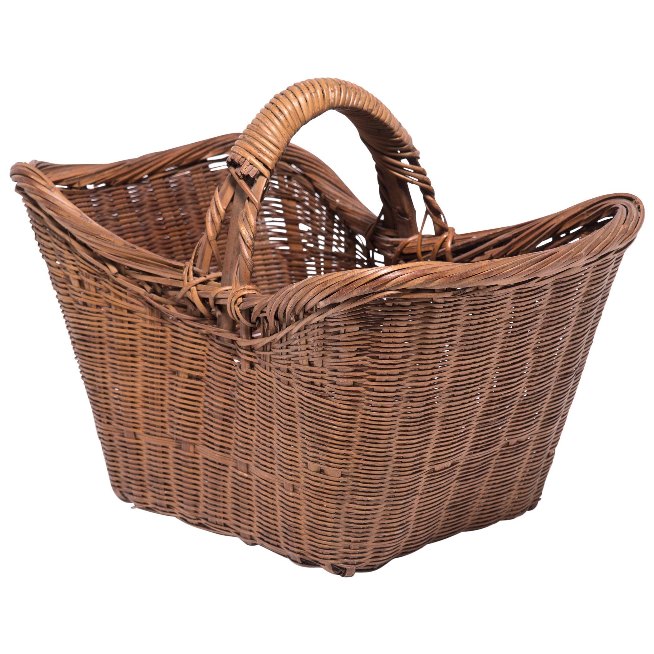 Vintage Chinese Twist Woven Market Basket