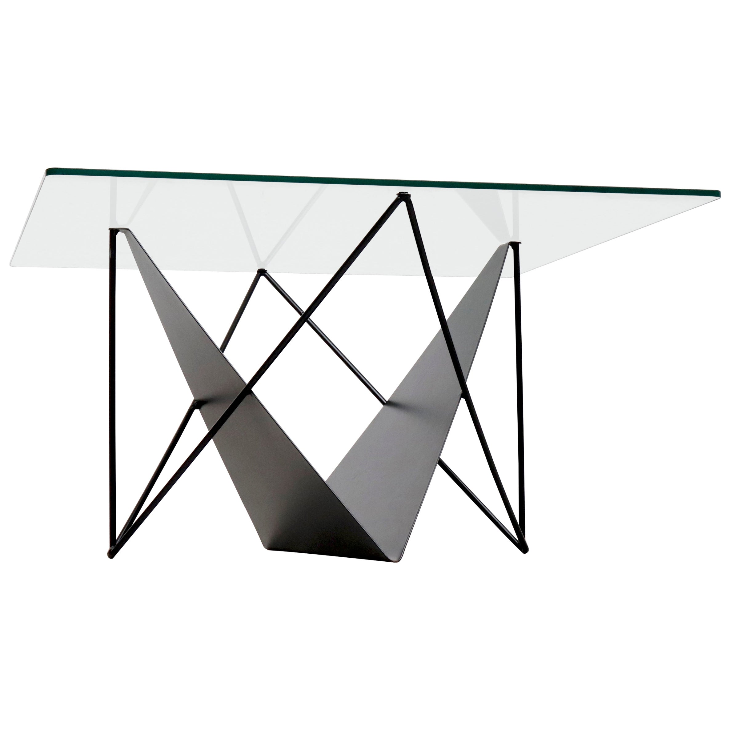 Modernist Side or Coffee Table with Magazine Rack