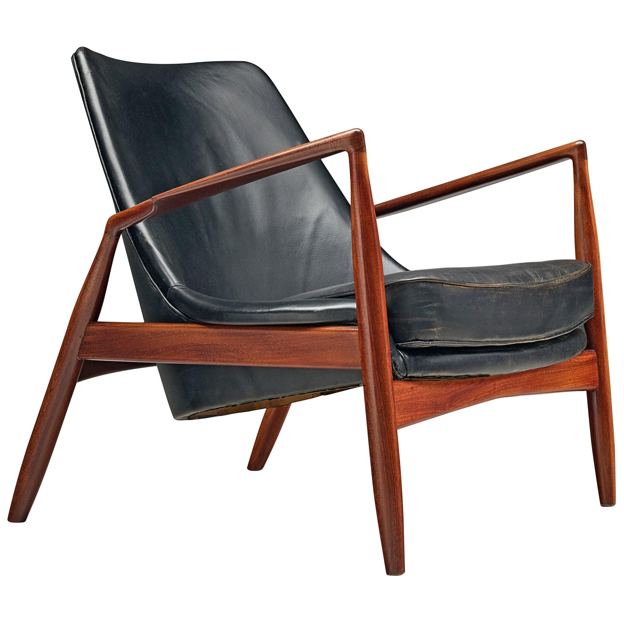 Restored Ib Kofod-Larsen Black Leather Seal Chair