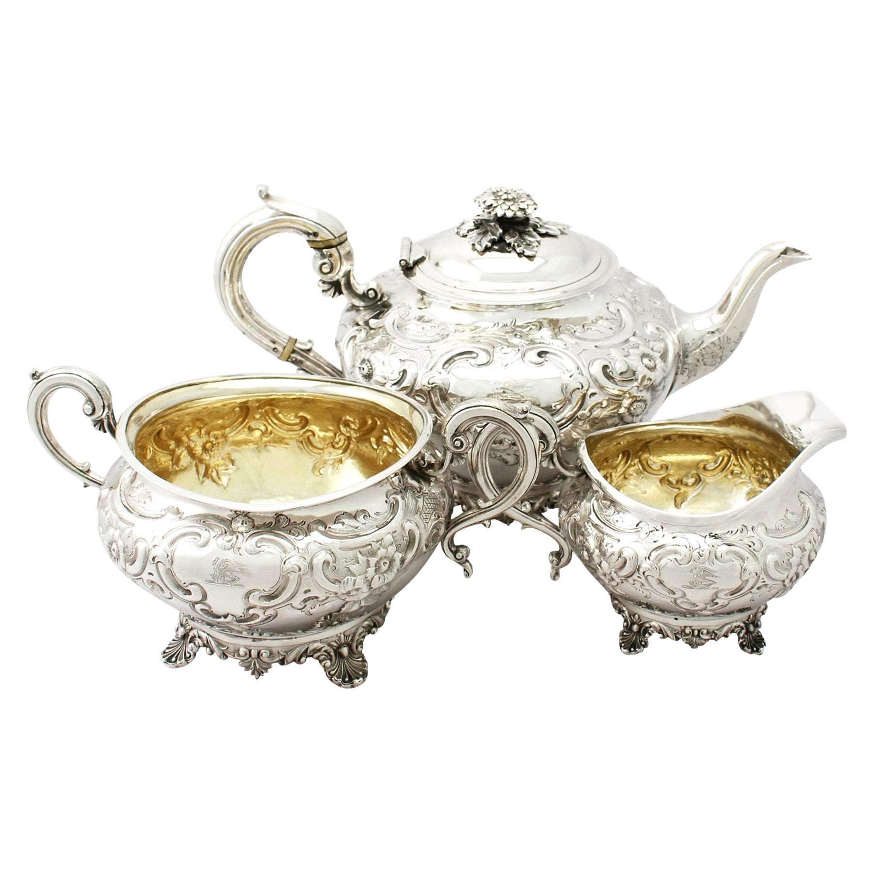 Antique George III Sterling Silver Three-Piece Tea Service