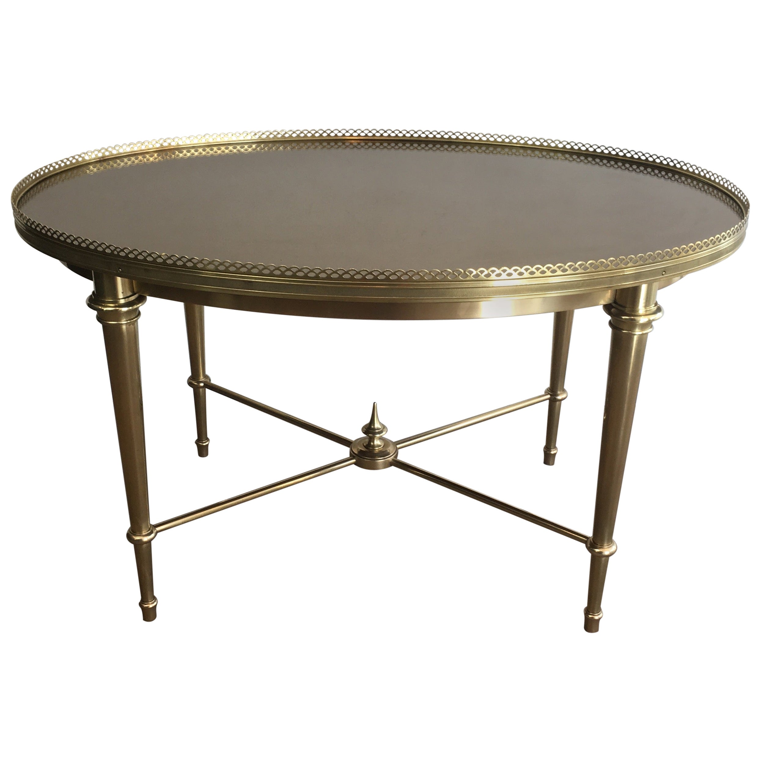 Attributed to Maison Ramsay, Neoclassical Style Oval Brass Coffee Table with Be
