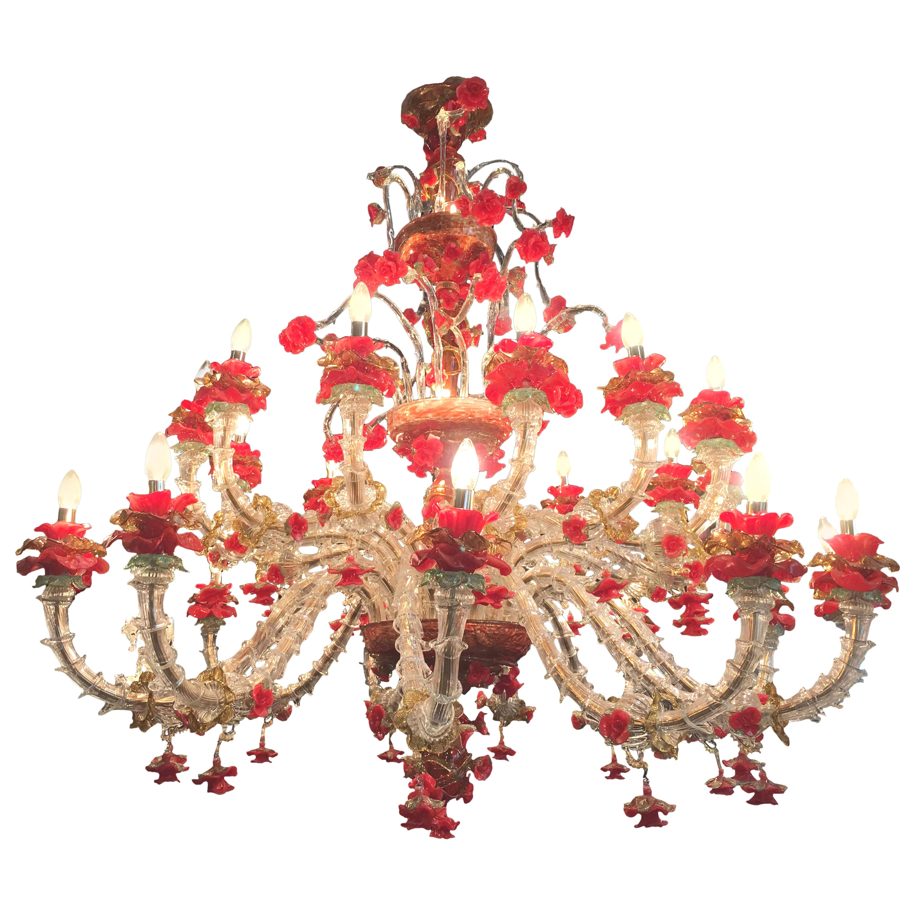 Red and Gold Sumptuous Murano Glass Chandelier, 1980s