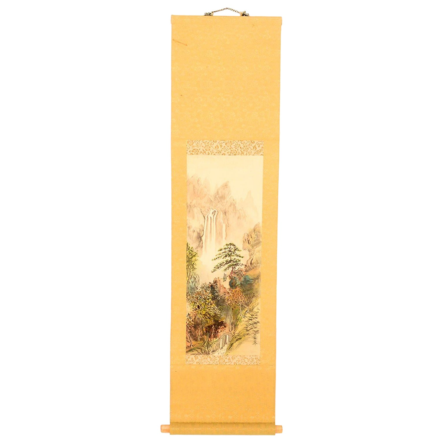 Vintage Chinese Silk Landscape Scroll Wall Art Hanging Decor 1