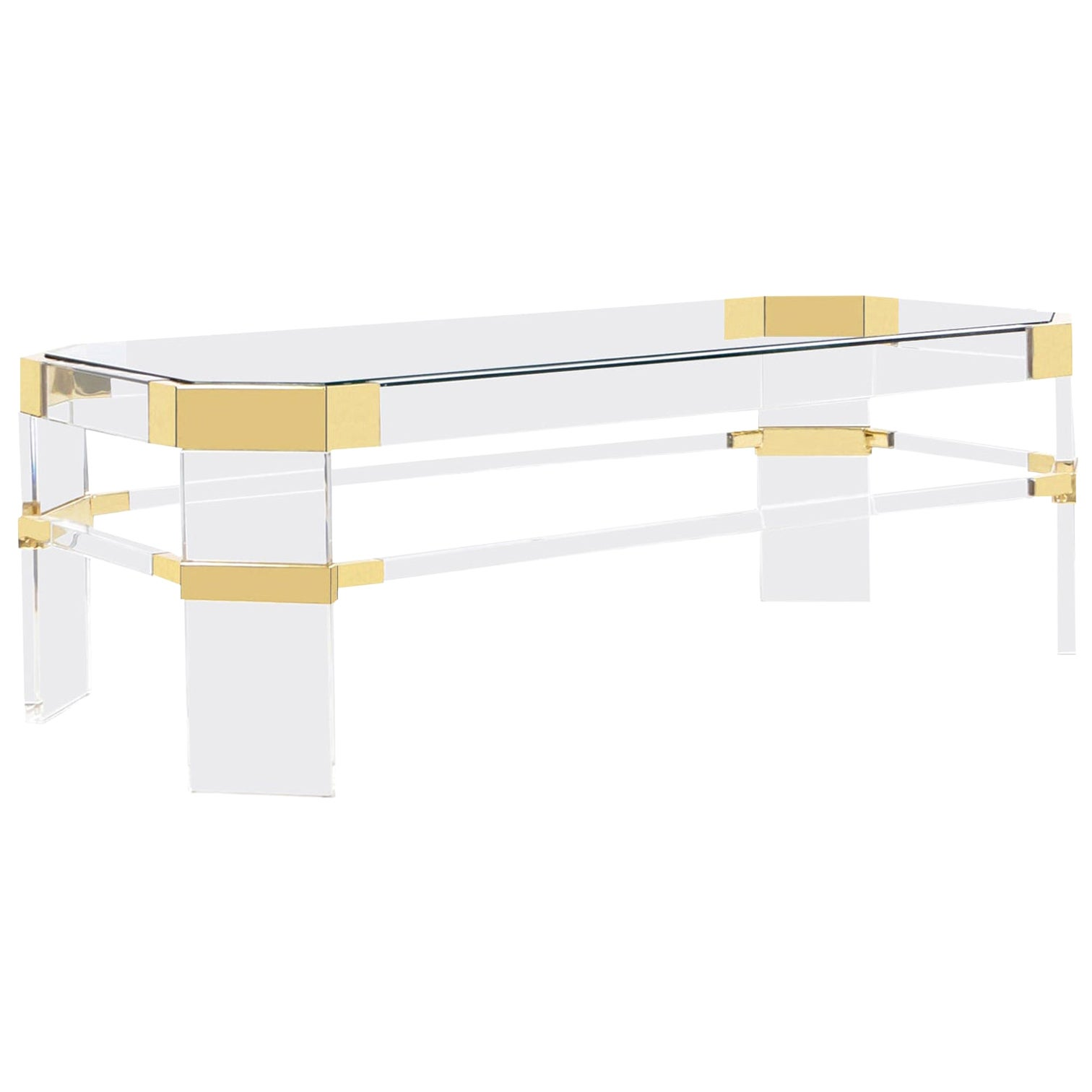 """Vintage Brass and Lucite """"Metric Line"""" Coffee Table by Charles Hollis Jones"""