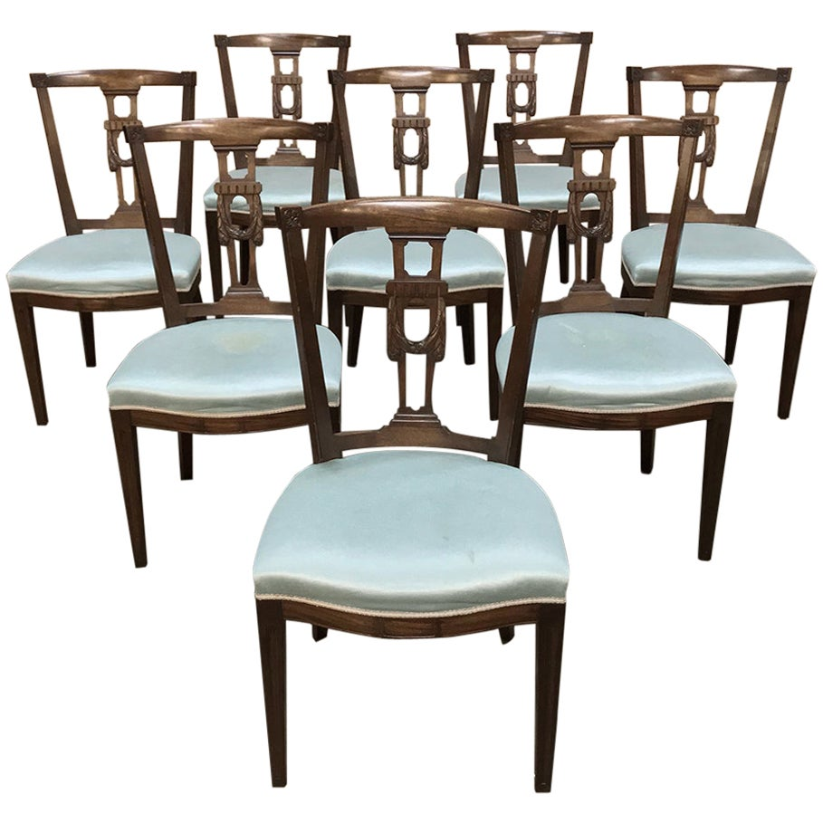 Set of 8 Antique Hepplewhite Dining Chairs