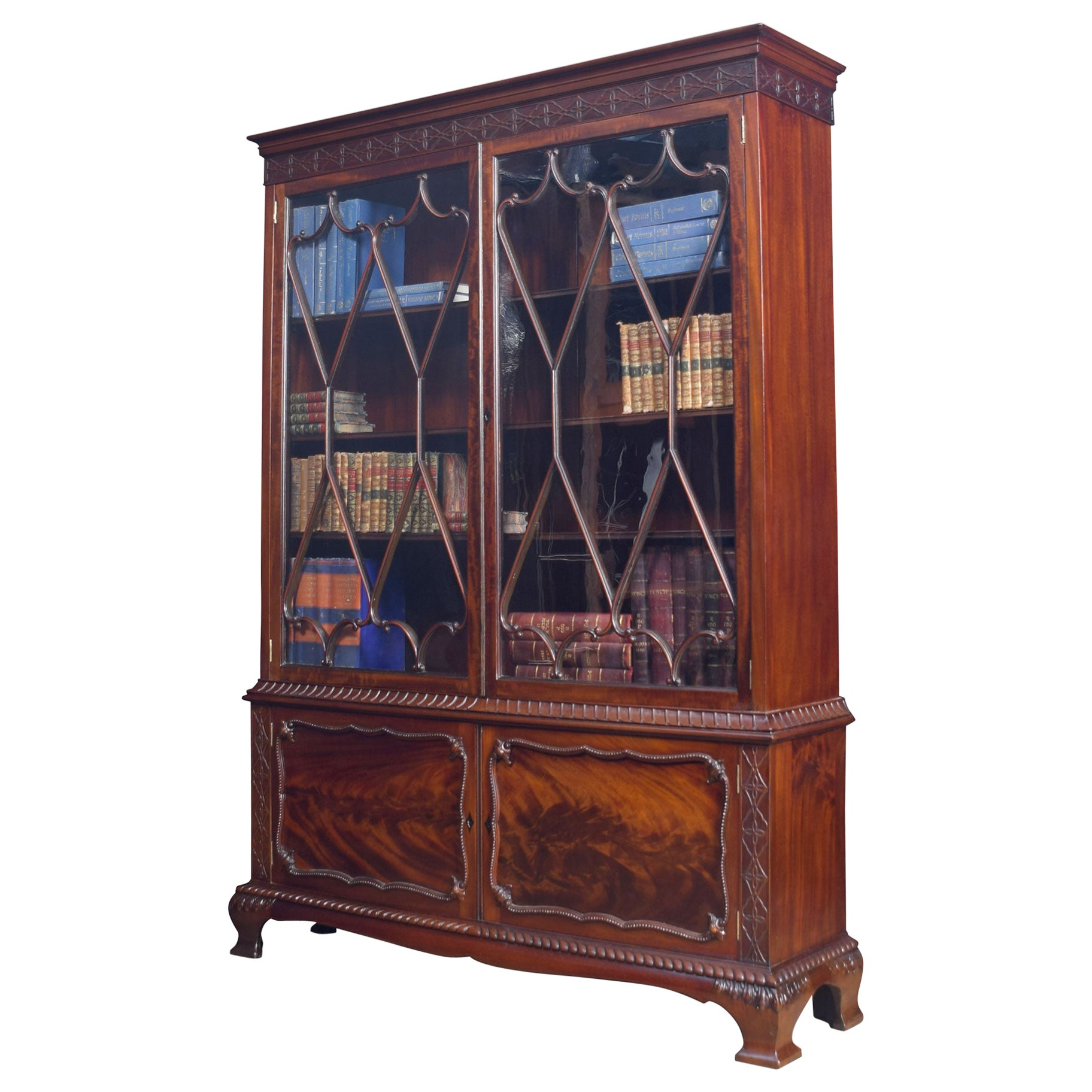 Chippendale Revival Mahogany Bookcase