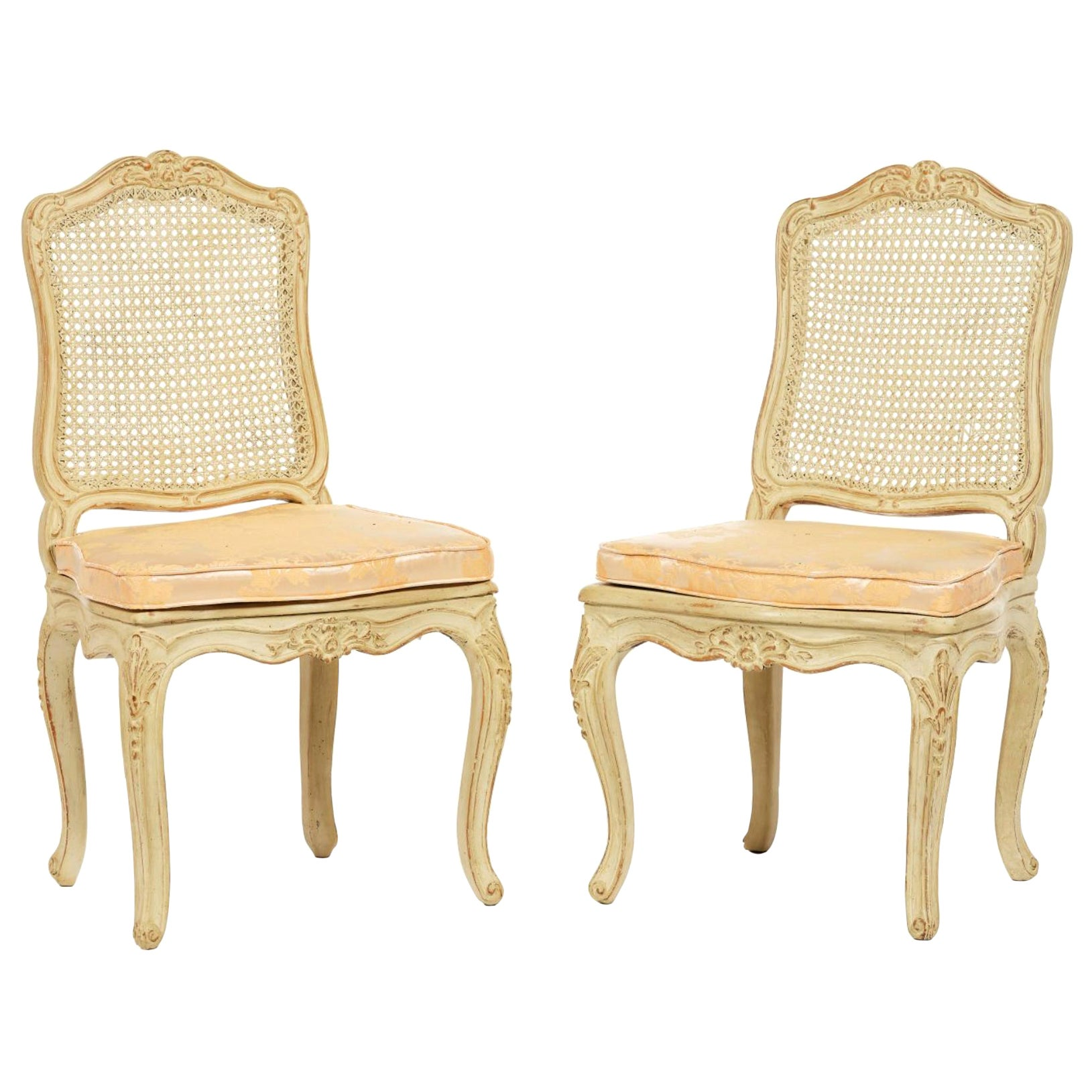 19th Century French Louis XV Pair of Caned Chairs in Moulded and Carved Wood