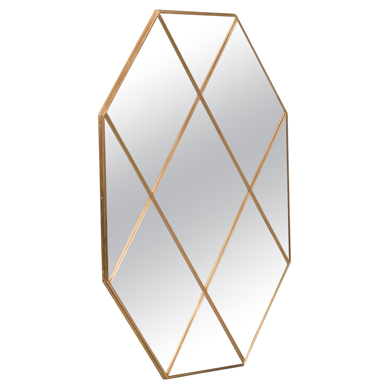 Customizable Octagonal Brass Frame Window Look Bronze Glass Mirror