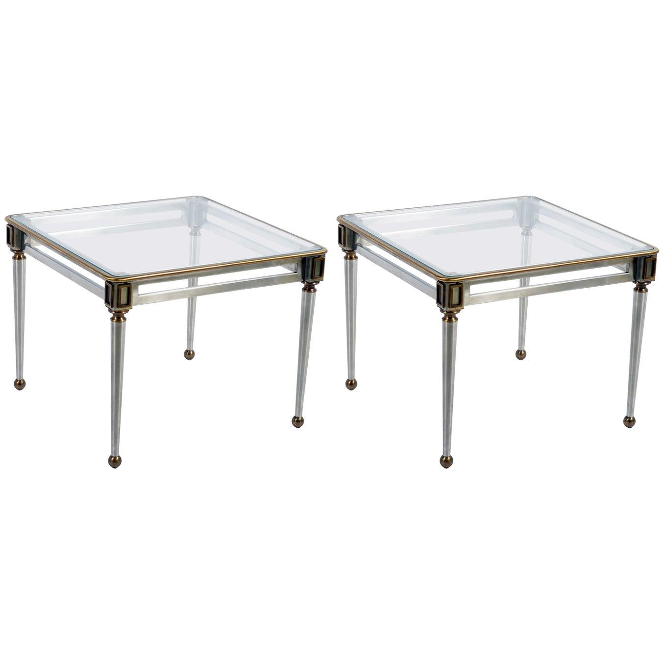 Banci Firenze Midcentury Italian Pair Steel Brass Side Tables Nightstand, 1960s
