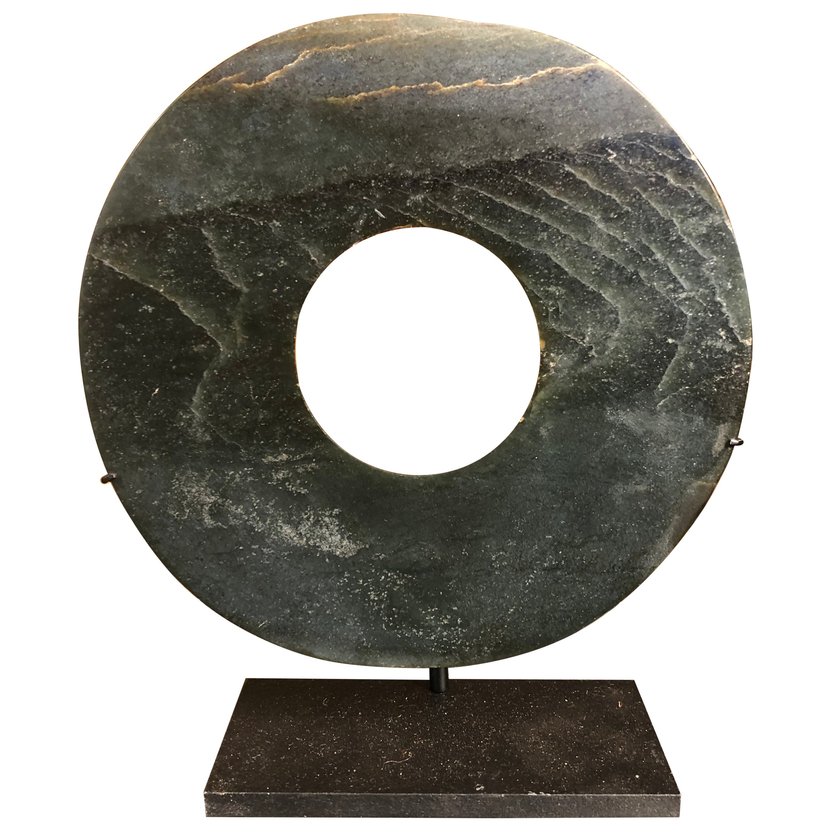 Important Ancient Heavenly Jade Bi Disc with Rich Green Color