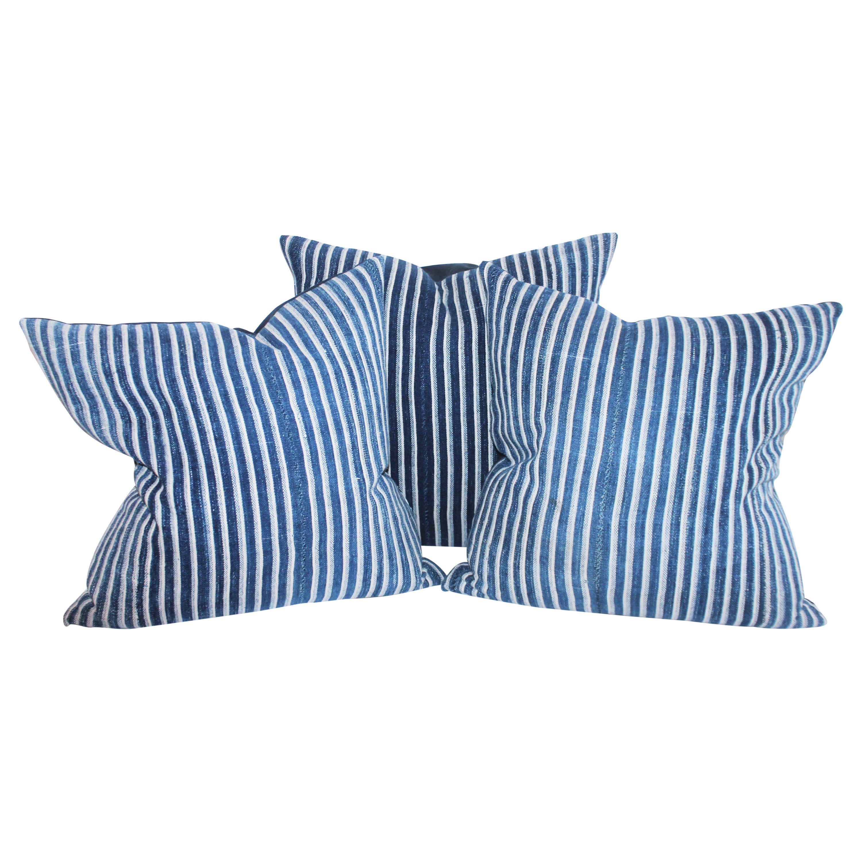 Collection of 19th Century Ticking Pillows-Faded Indigo Stripes