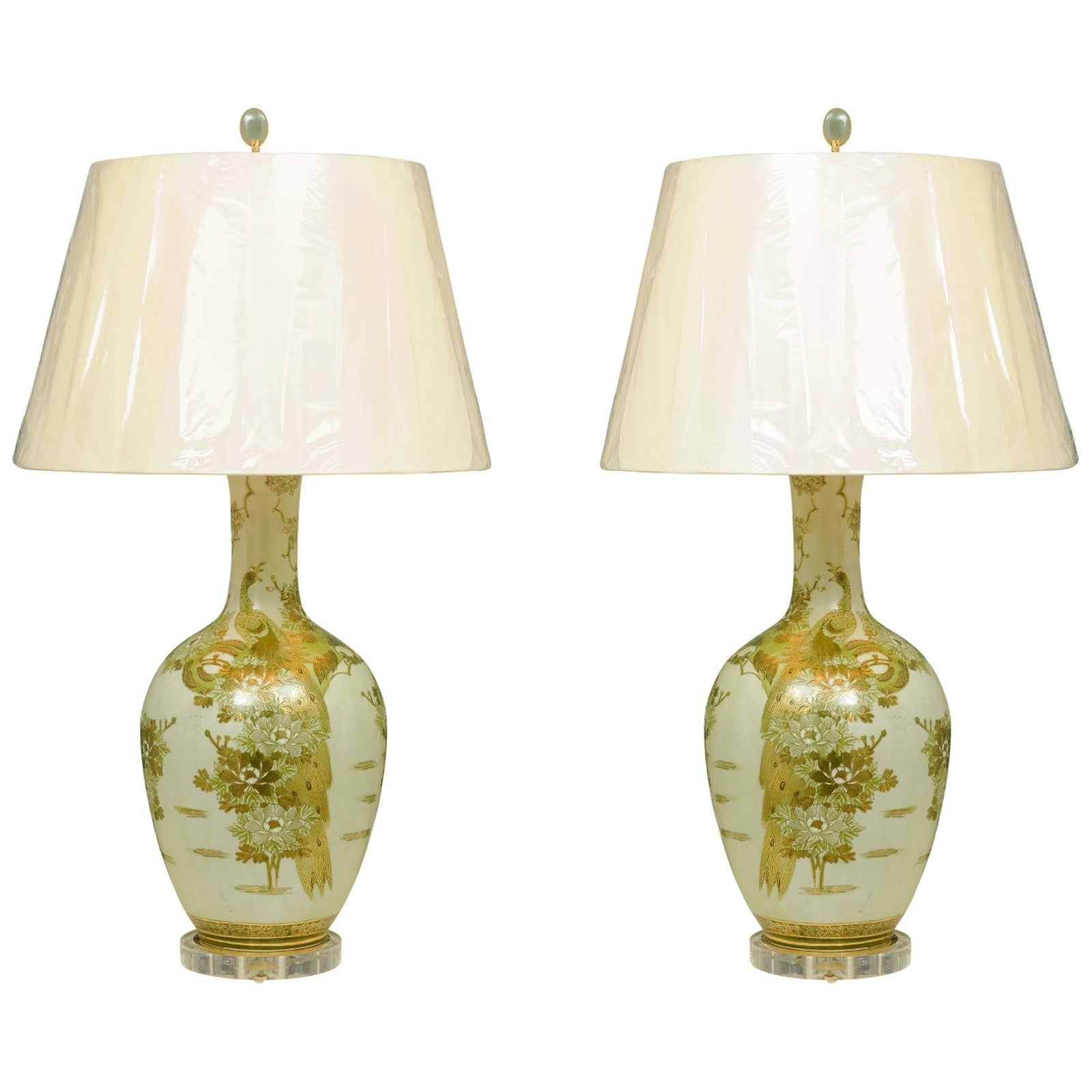 Dramatic Pair of Hand Painted Asian Lamps by Marbro, circa 1960