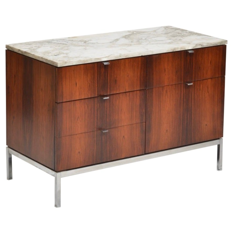 Restored Rosewood Credenza with Calacatta Marble Top by Florence Knoll
