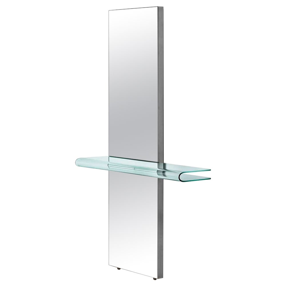 Fiam Let Me See 870 Mirror with Console in Glass, by Rodolfo Dordoni