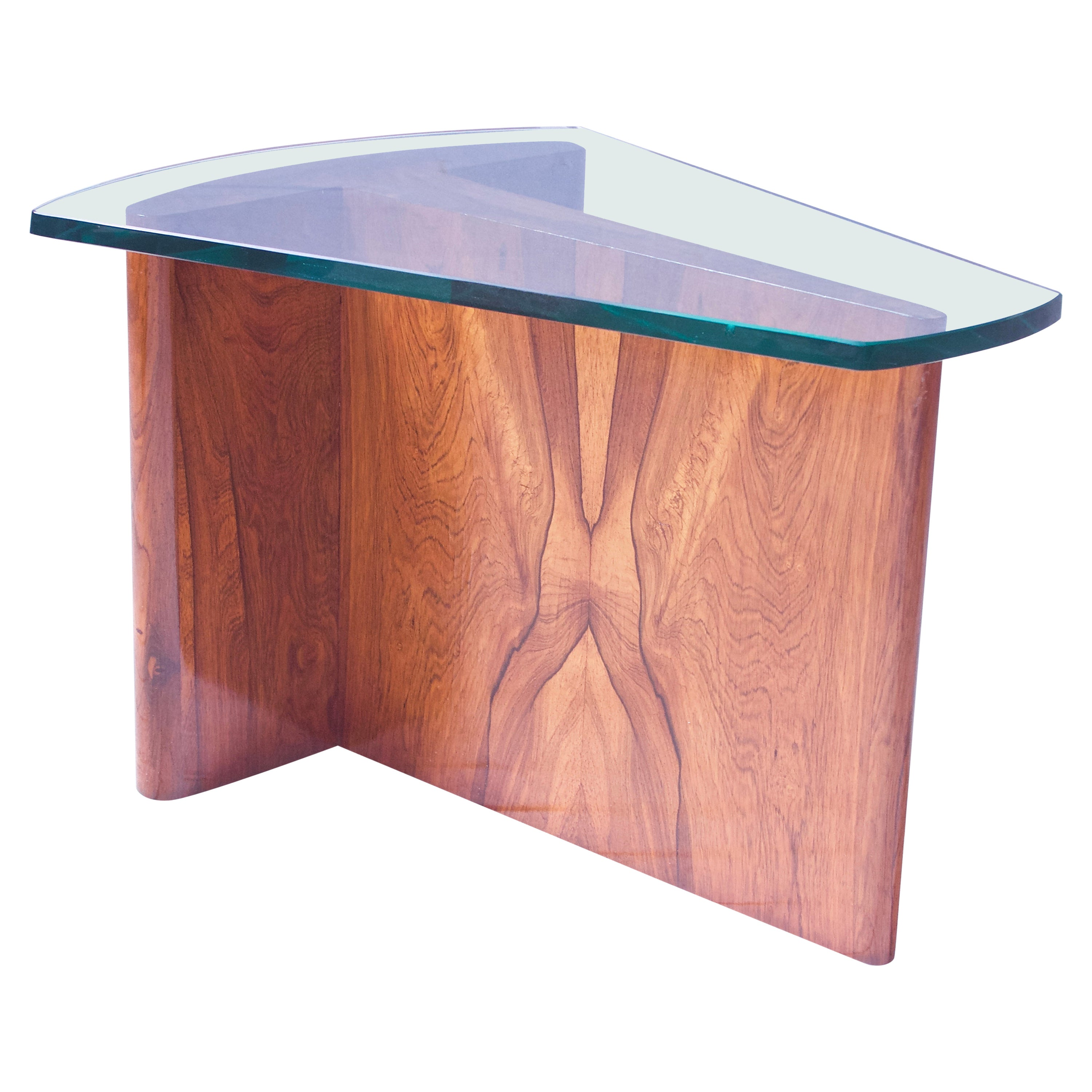 Sculptural Coffee Table in Italian Walnut with Beveled-Glass Top, Italy, 1960s