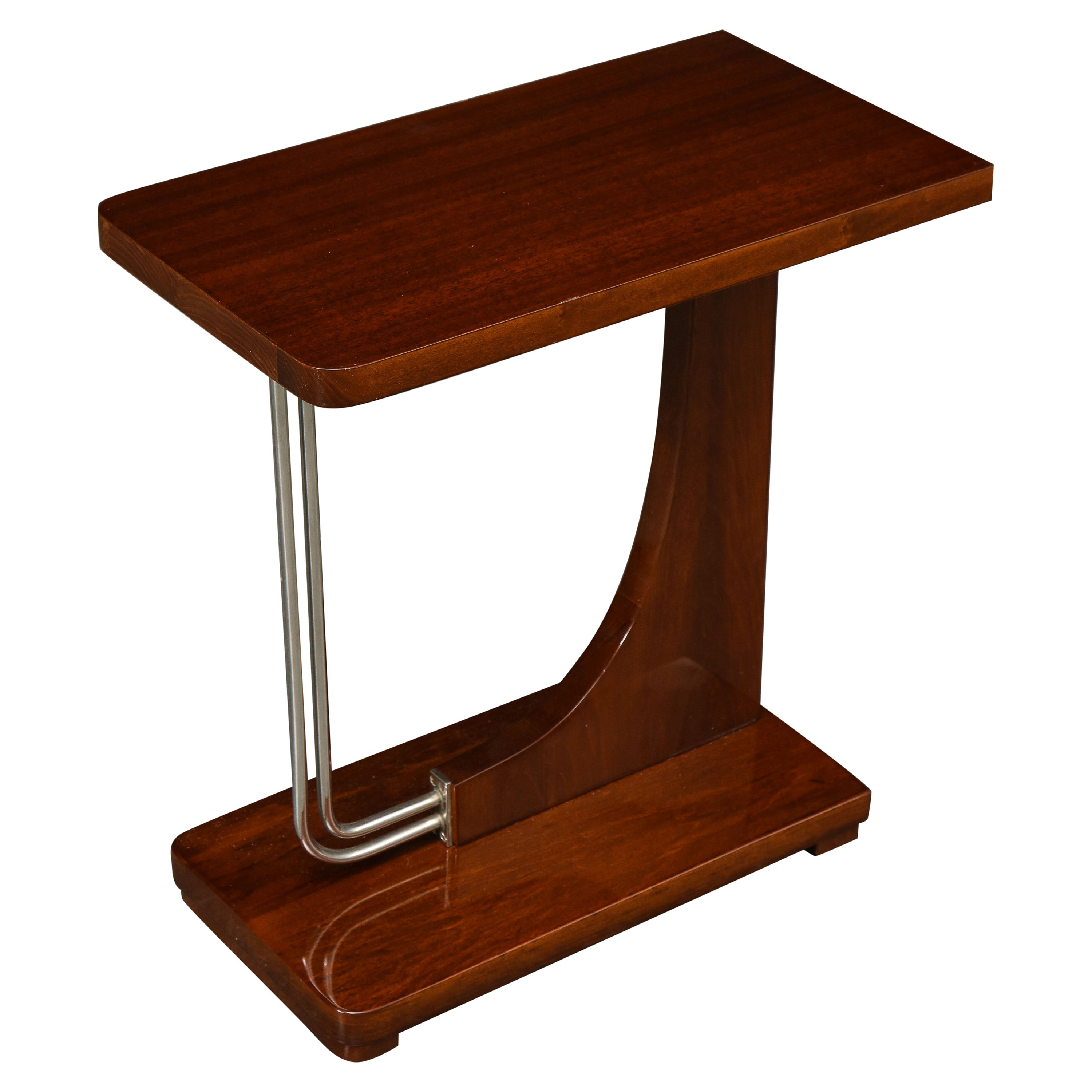 Mid-Century Modern Mahogany and Chrome Side Table
