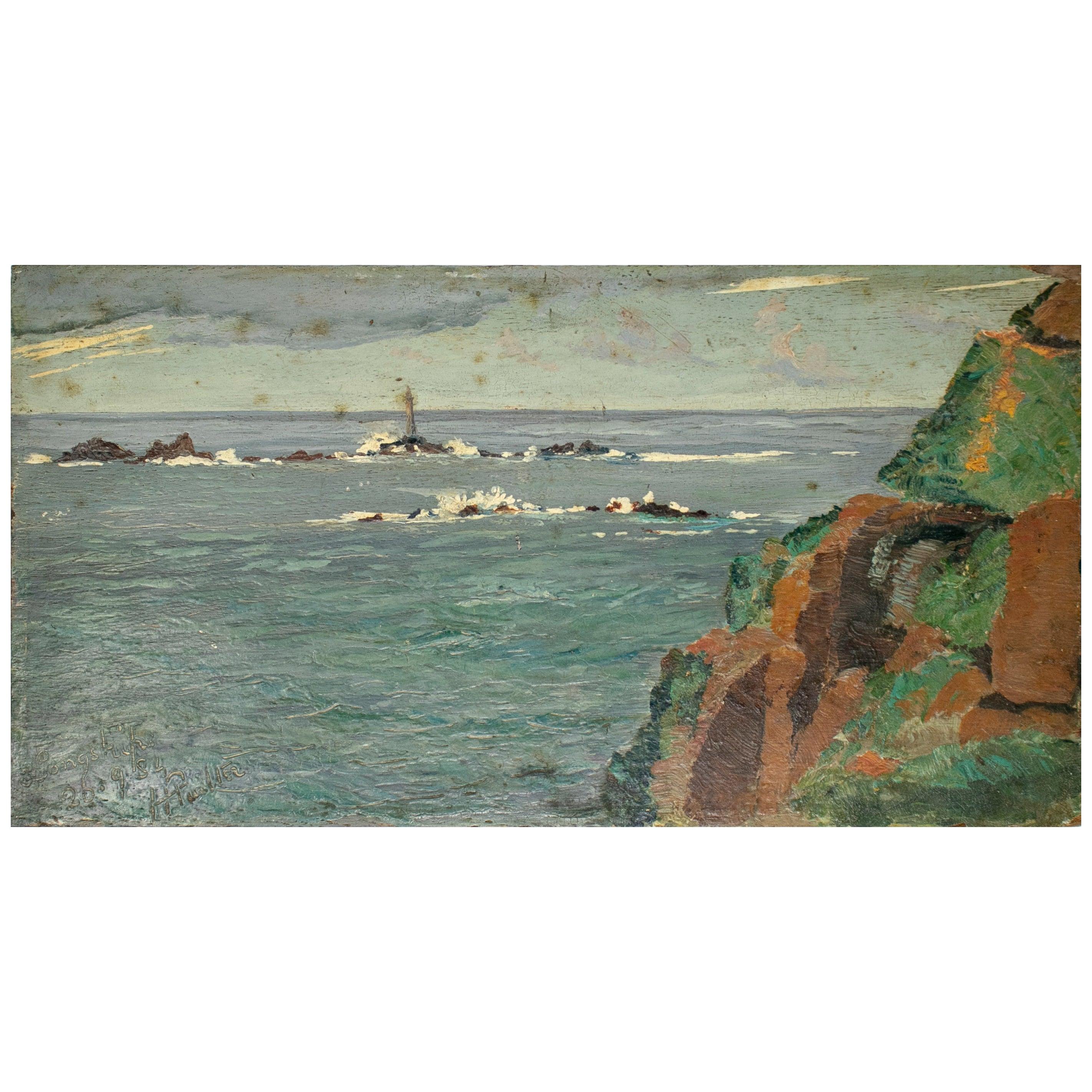 19th Century Oil on Wood Sea Landscape Painting