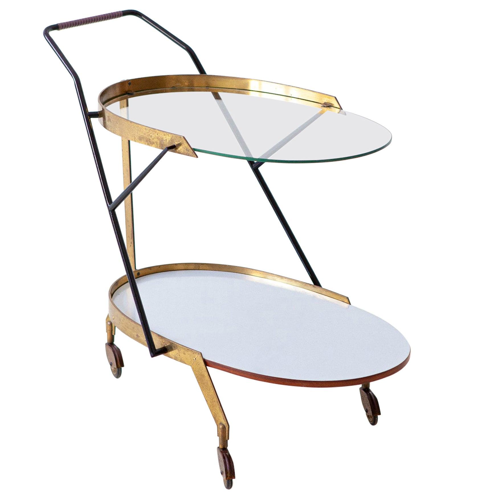 Italian Modern Glass and Brass Bar Cart, 1950s