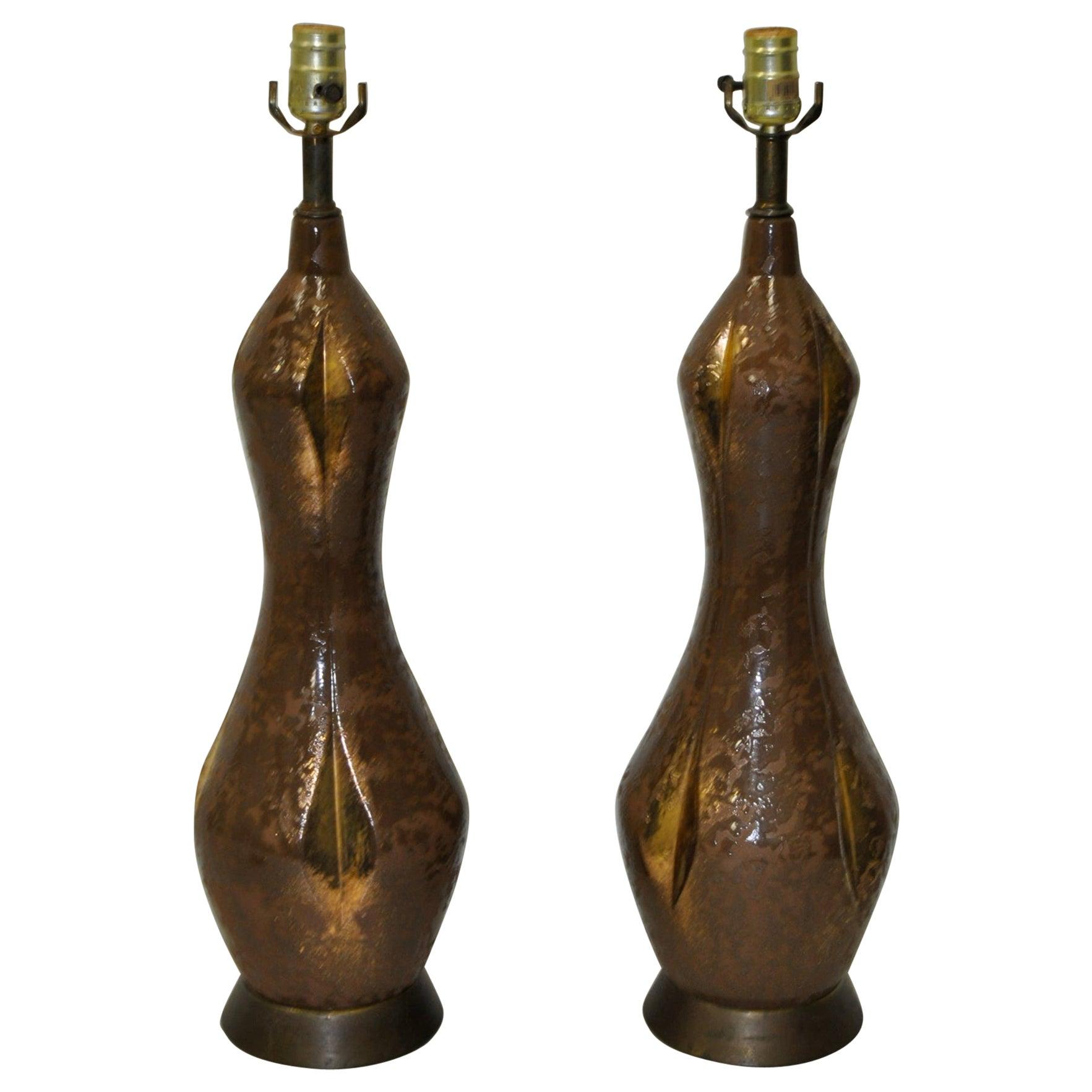 Pair of Midcentury Gilded Glaze Ceramic Table Lamps circa 1950