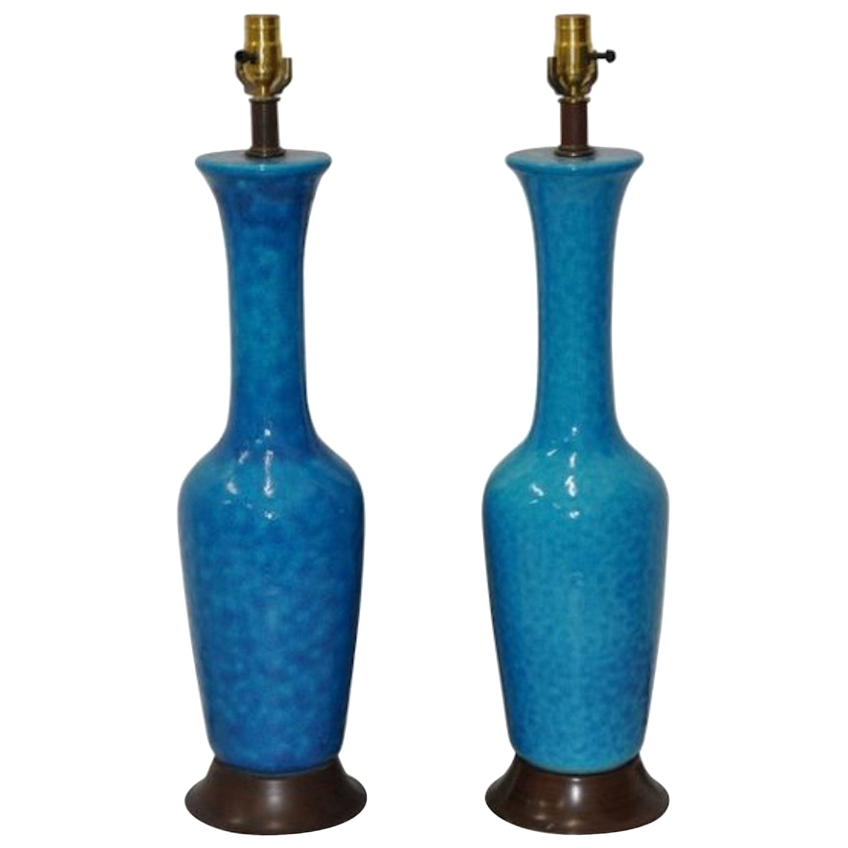 Pair of Phil Mar Glazed Pottery Table Lamps, circa 1950s