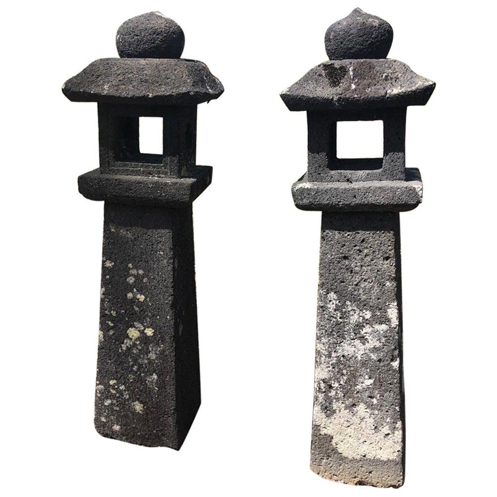 Japanese Pair Antique Stone Lanterns