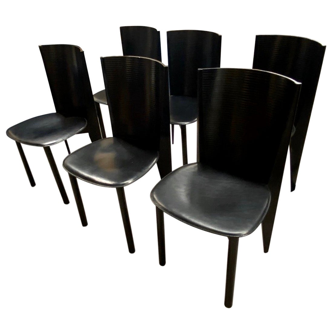 Calligaris Made in Italy Set of Six Black Dining Chairs