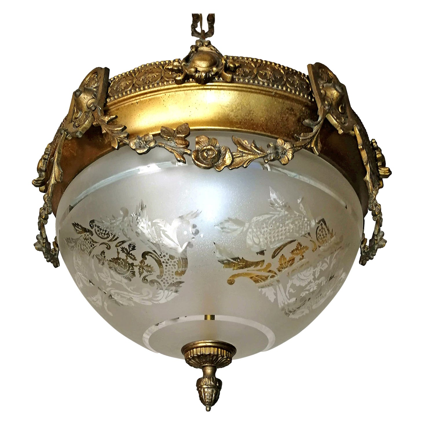 French Art Nouveau Art Deco Gilt Bronze & Etched Glass Chandelier or Flushmount