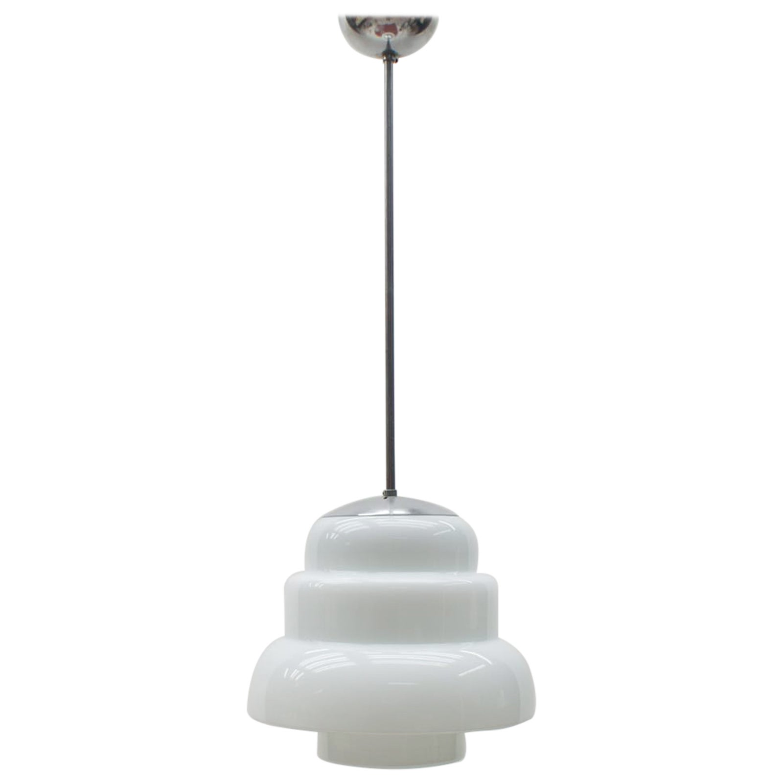 Extremely Rare Art Deco Stepped Milk Glass Lamp, 1930s, Germany