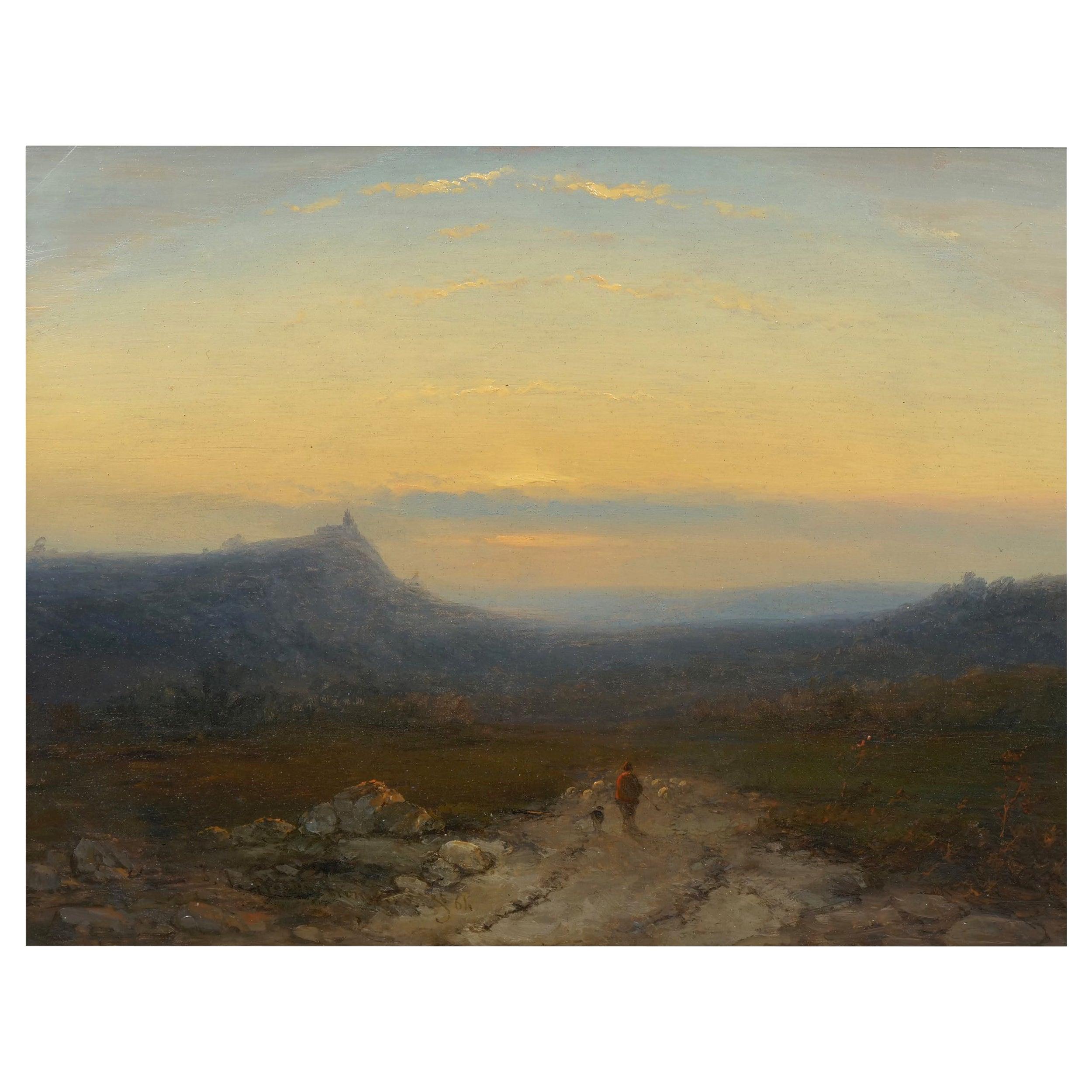 Antique 19th Century Oil Landscape Painting of Shepherd by J. Hoppenbrouwers