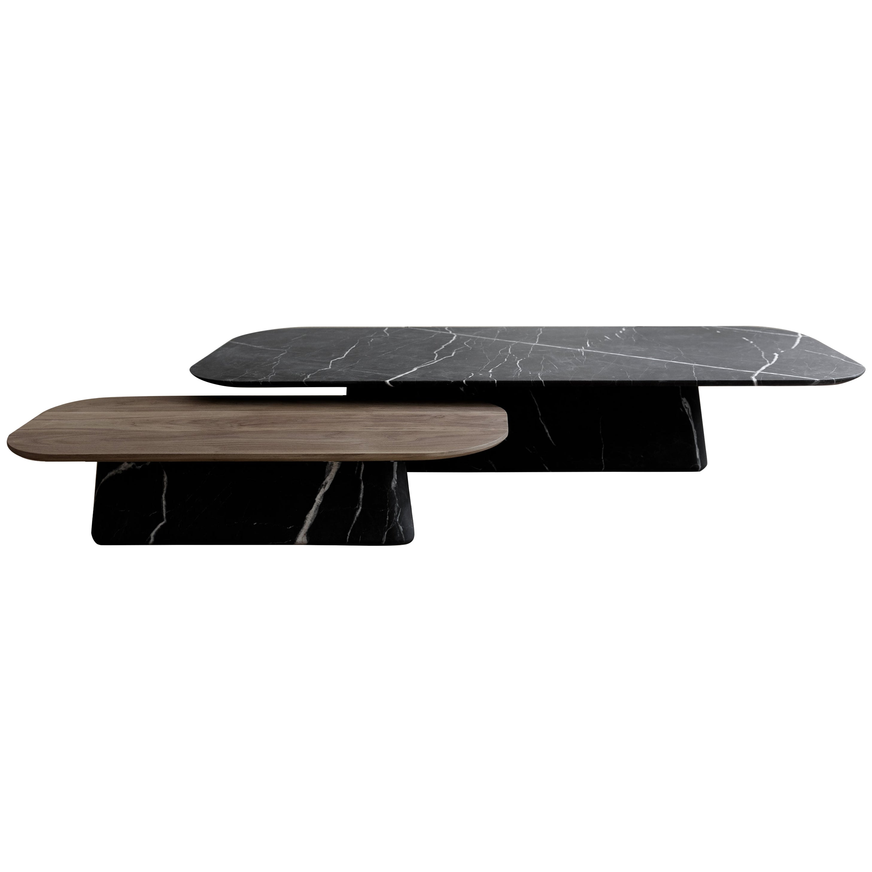Two Pedestal Coffee Tables in black marble and walnut wood set