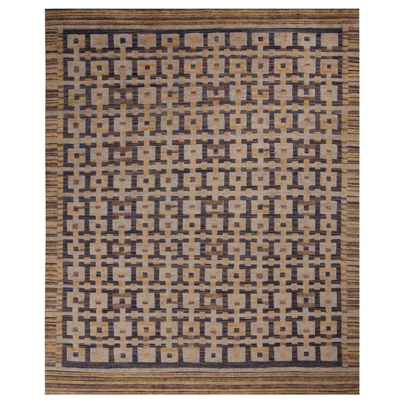 Rug & Kilim's Scandinavian Inspired Gold Gray and Blue Wool Rug