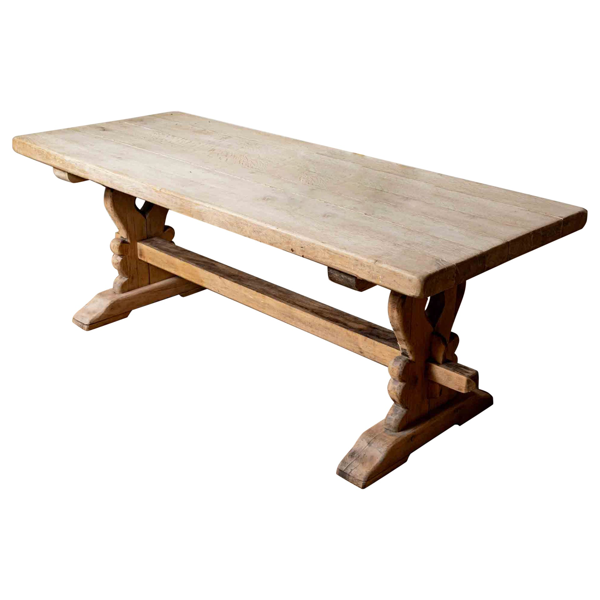 1920s French Oak Country Kitchen Deep Planked Refectory Dining or Console Table