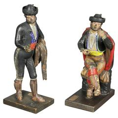 Pair of Spanish Polychrome Terracotta Creche Figures, Malaga