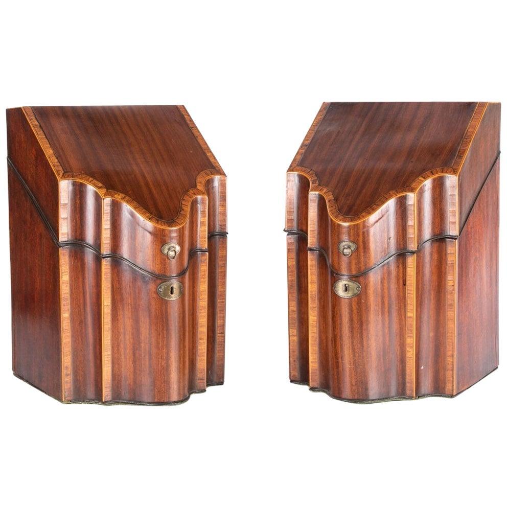 Pair of Fine English Georgian Mahogany Knife Boxes