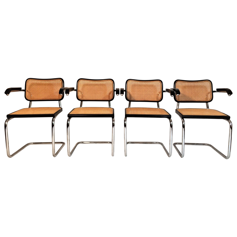 Marcel Breuer Cesca Black Armchairs Set of 4