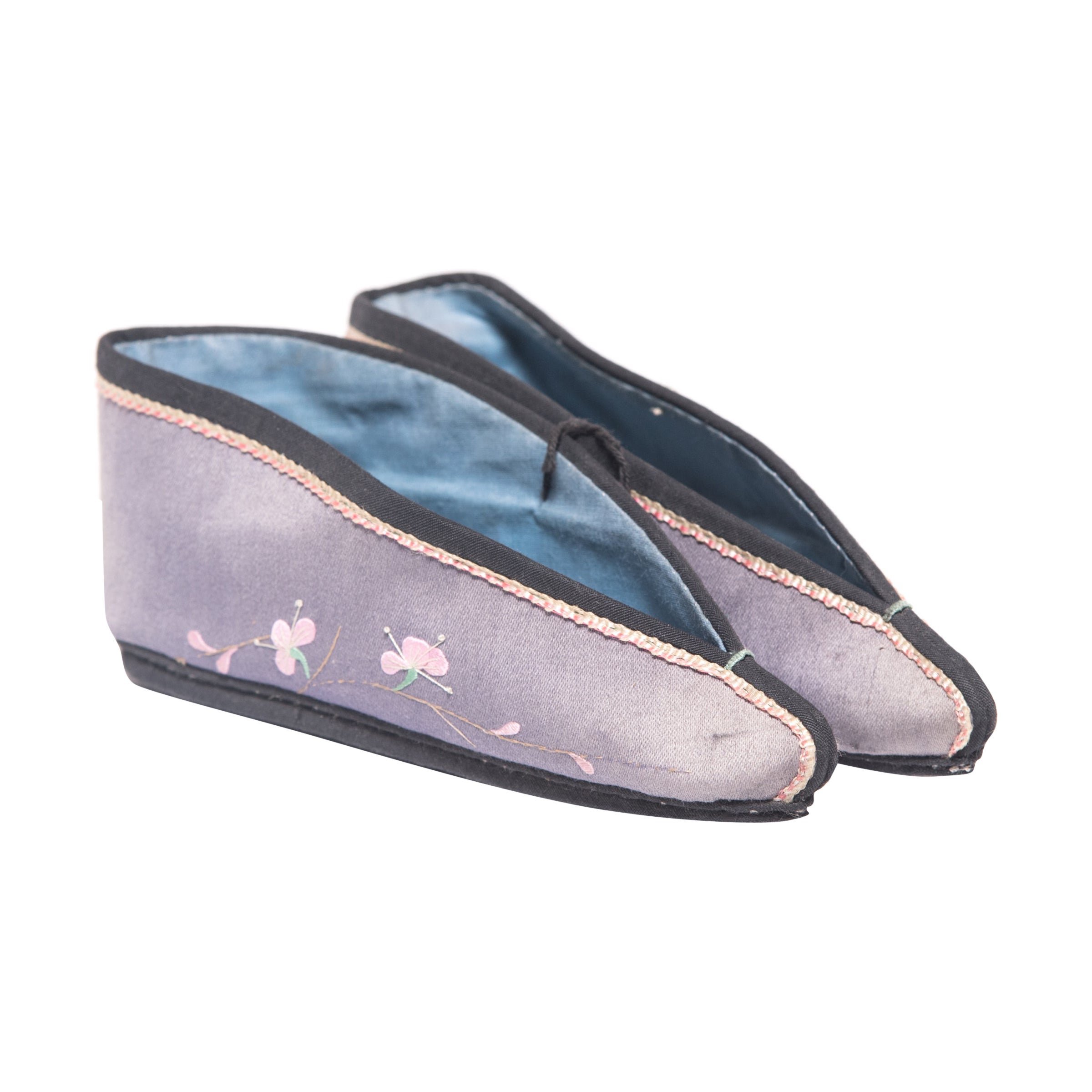 Pair of 19th Century Chinese Lilac Lotus Slippers with Plum Blossoms