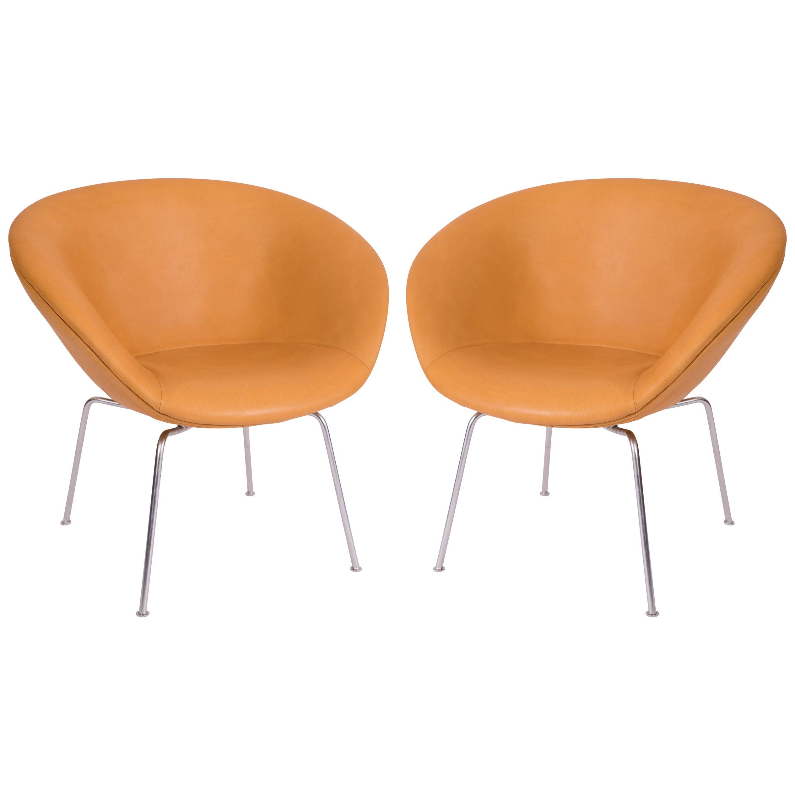 Arne Jacobsen Fritz Hansen Leather Pot Chairs