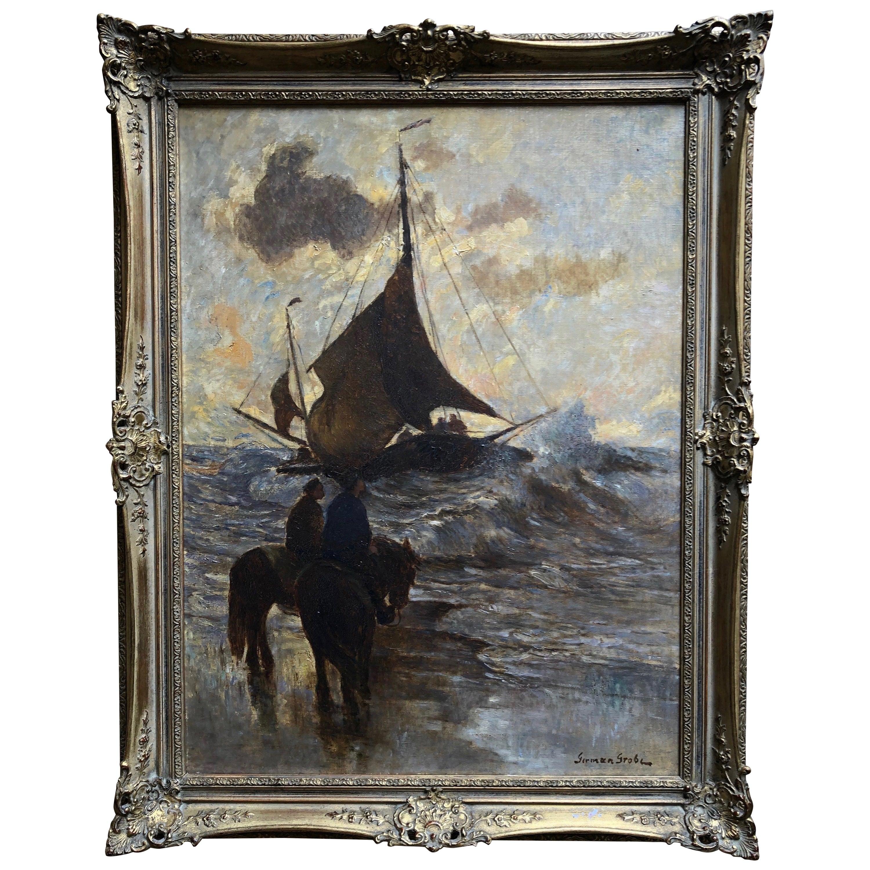 """German Grobe """"Fishing Boats at Sea"""" Original Oil Painting, circa 1900"""