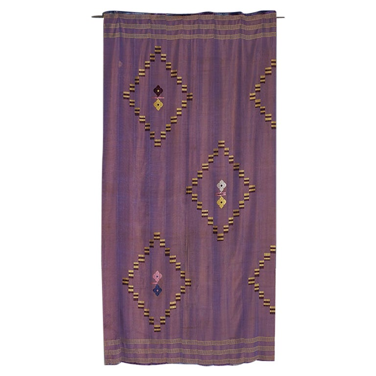 Vintage West African 1970s Handwoven Textile with Geometrical Embroidery