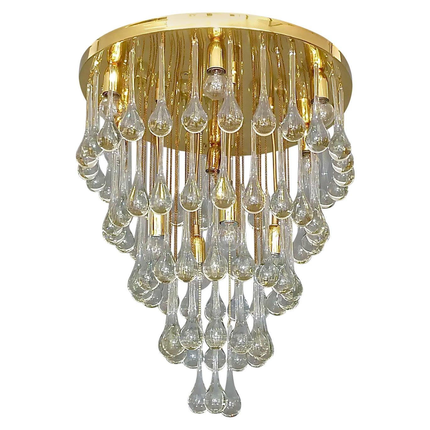 Large Gilt Brass Murano Glass Drop Chandelier Flush Mount Venini Palwa Style 60s