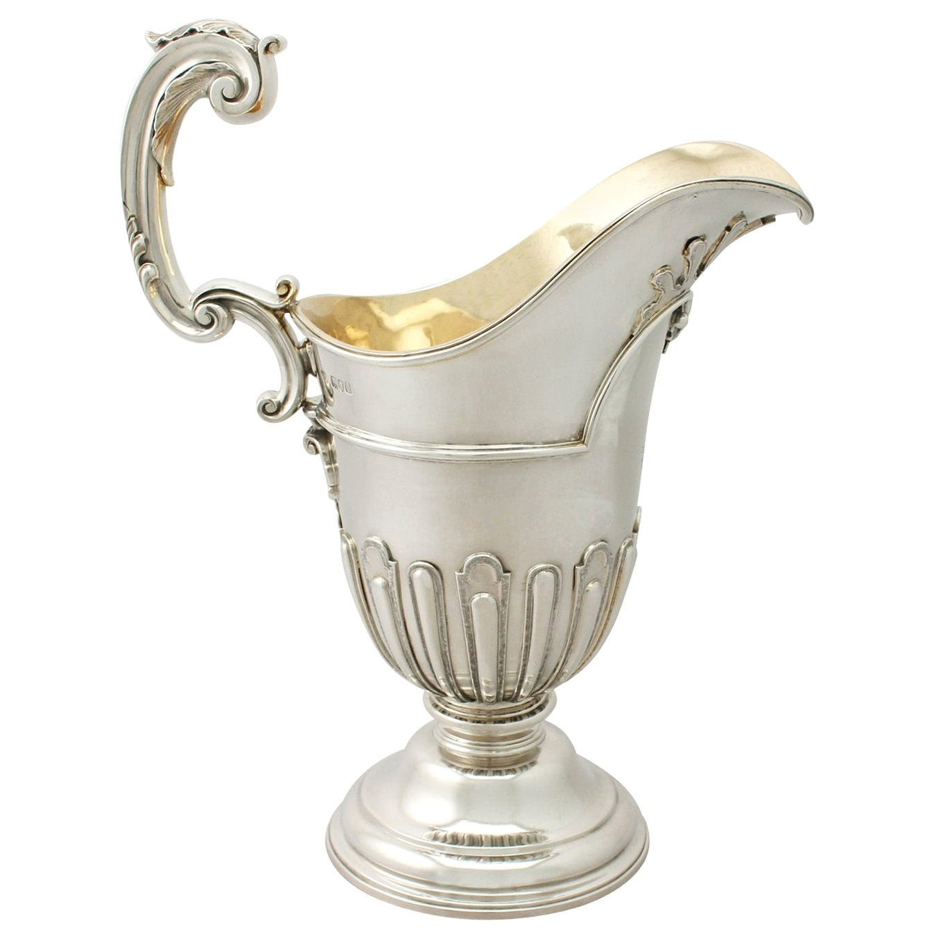 Victorian George I Style English Sterling Silver Wine Ewer