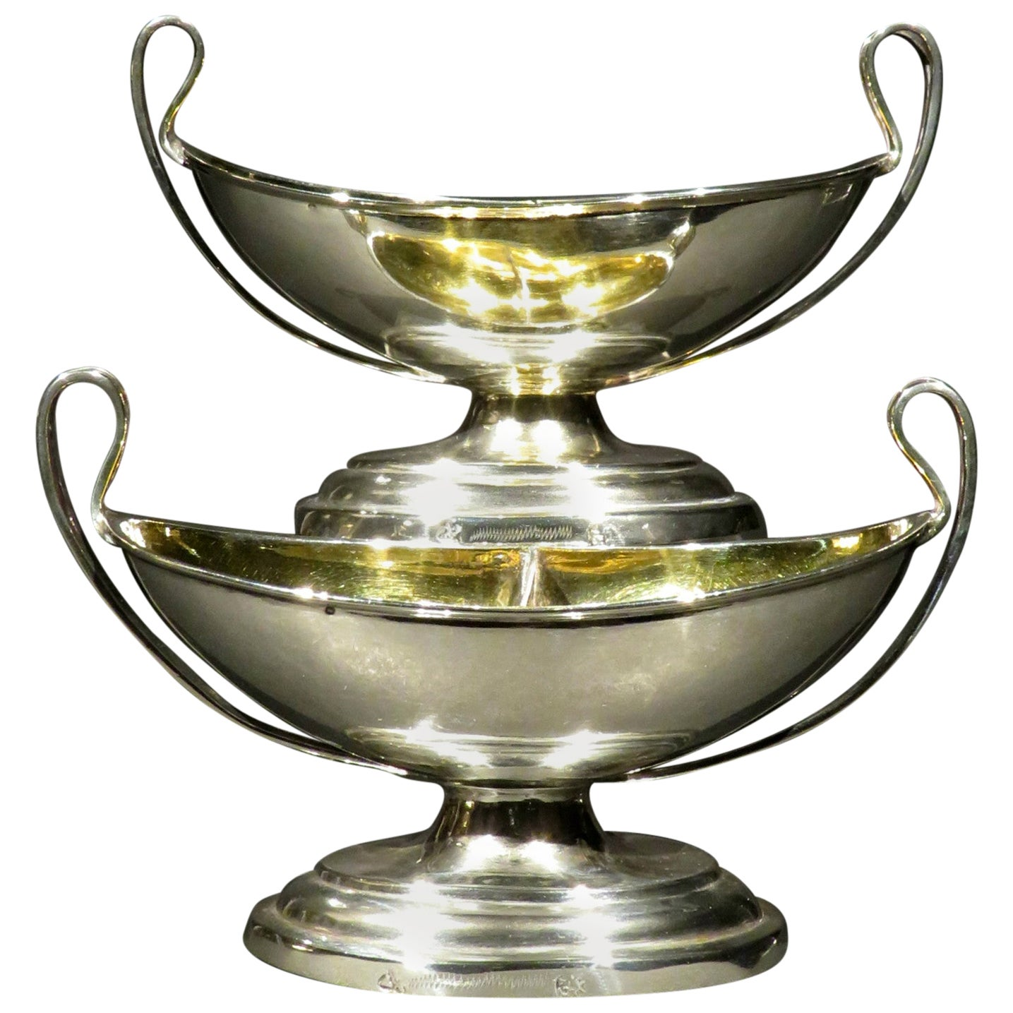 Fine Pair of Neoclassical Inspired German Silver Double Salt Cellars, Circa 1830