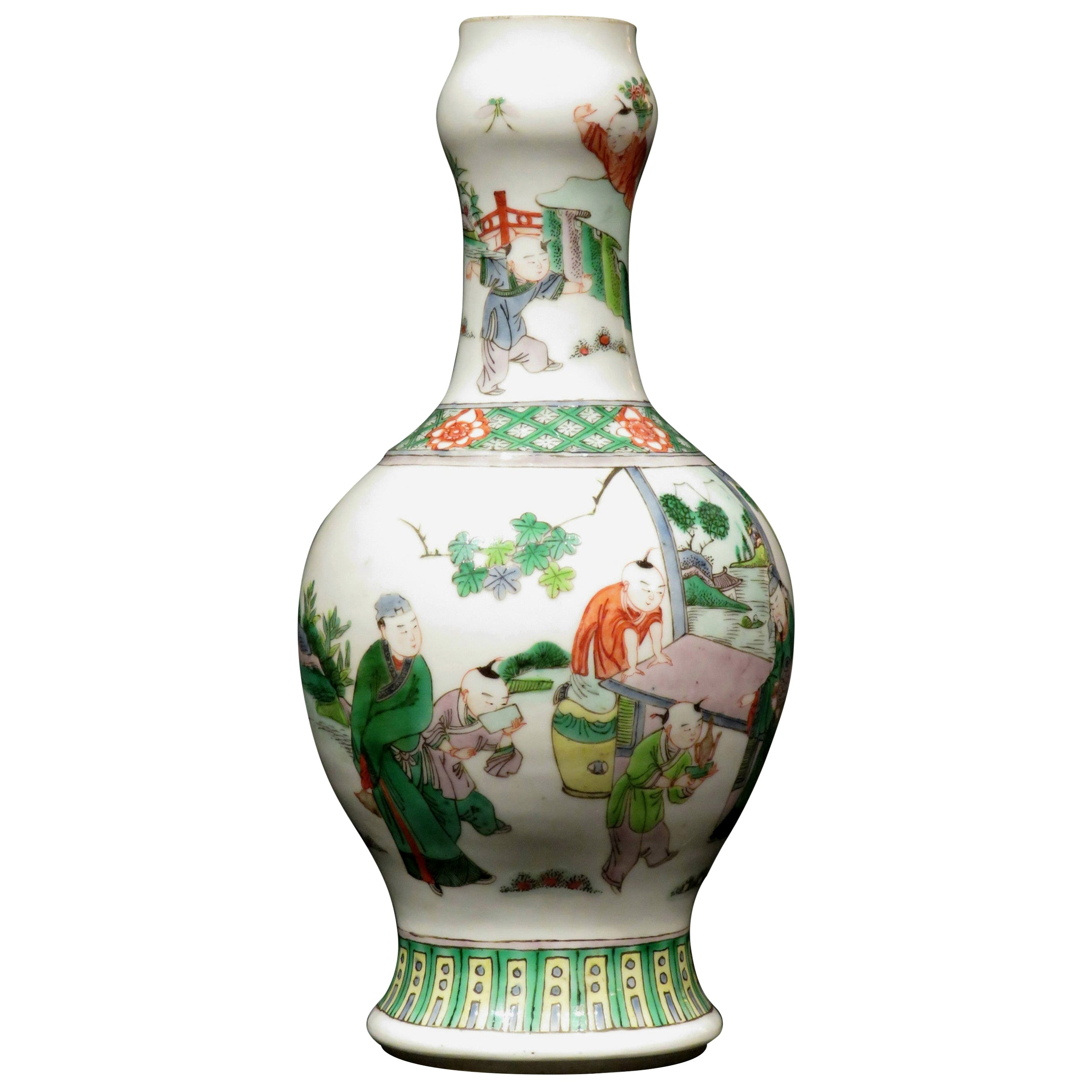 19th Century Chinese Famille Verte Porcelain Garlic Mouth Vase, Kangxi Marks