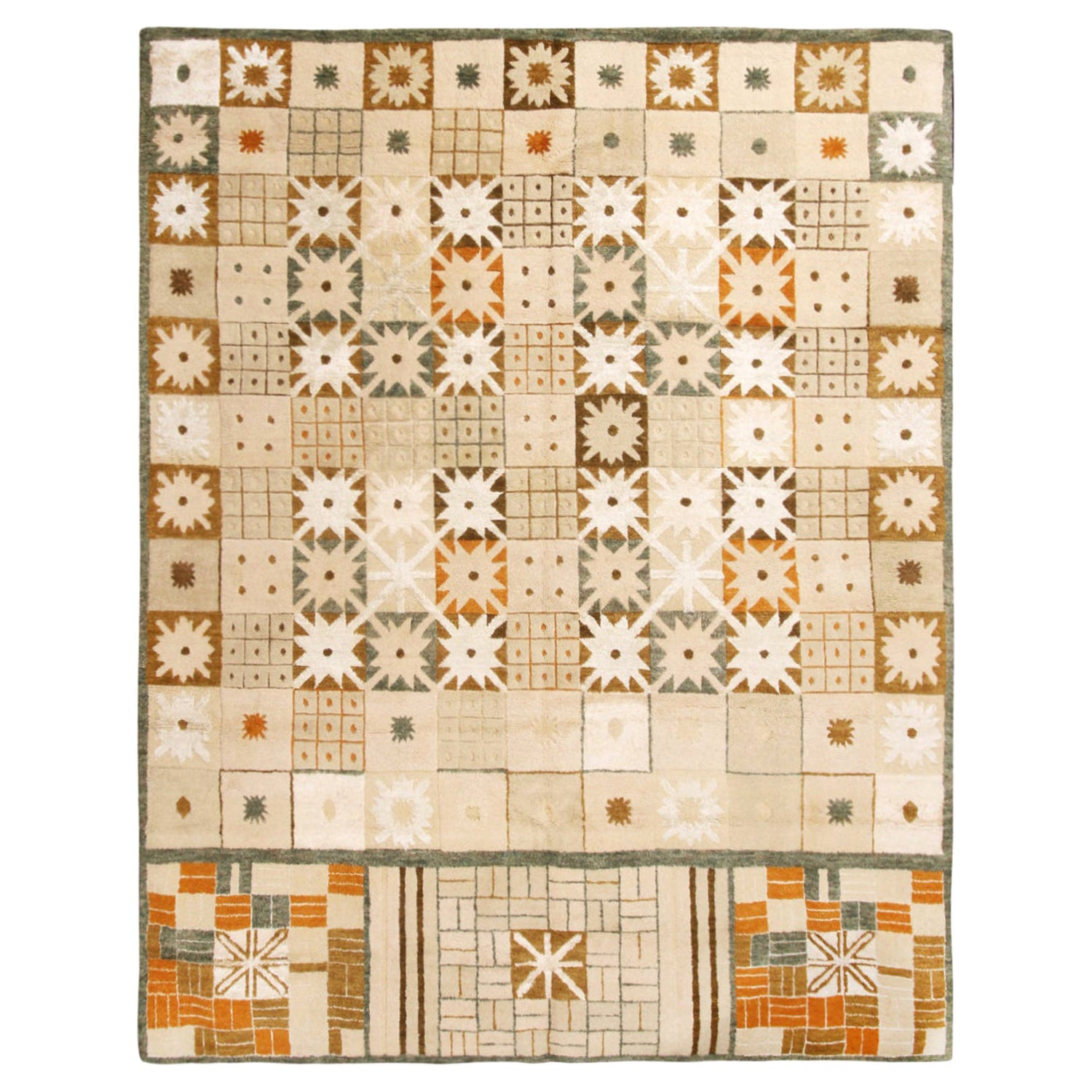 Rug & Kilim's Scandinavian-Inspired Geometric Cream Beige Brown Wool Pile Rug