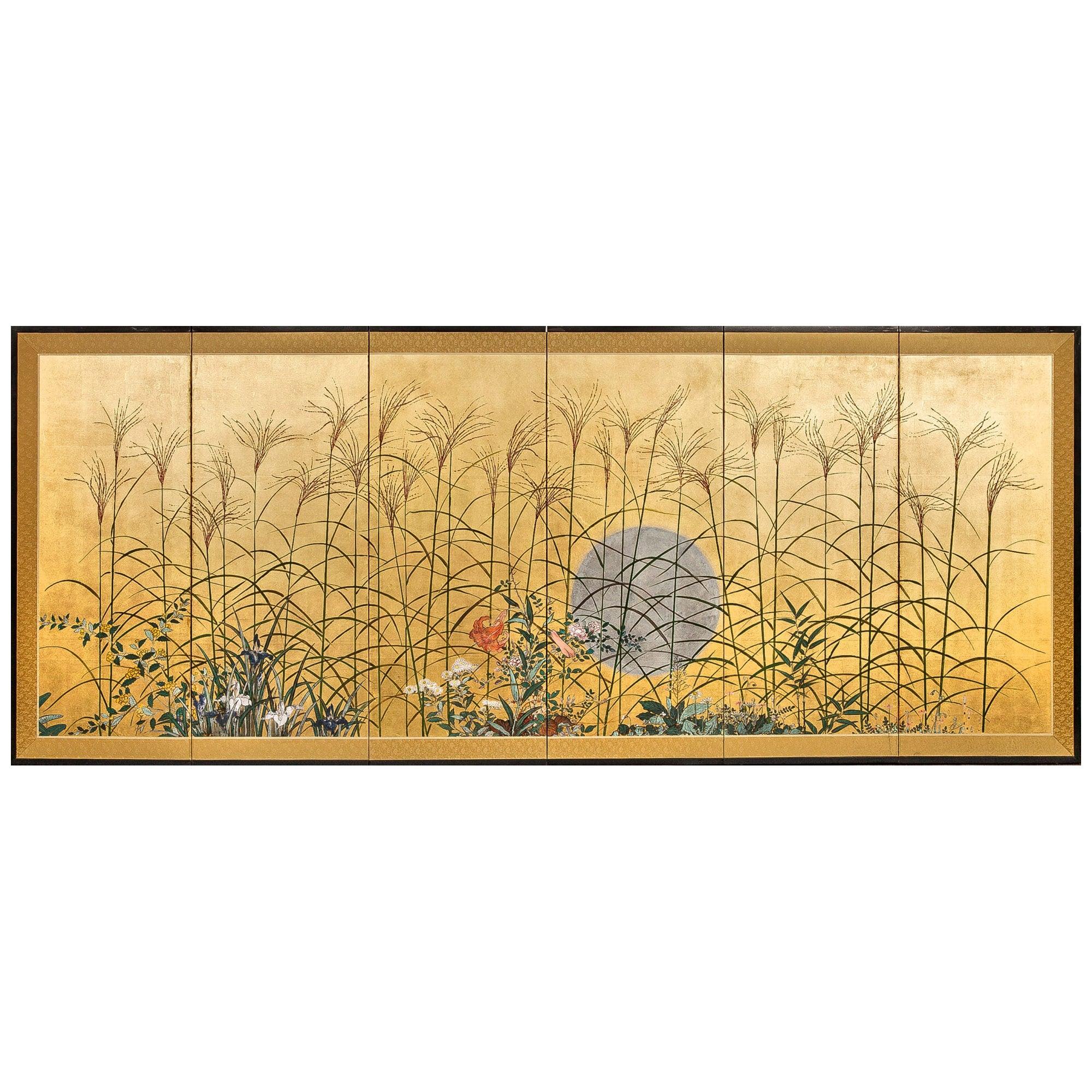 Japanese Six Panel Screen Moon Over the Plains of Musashino