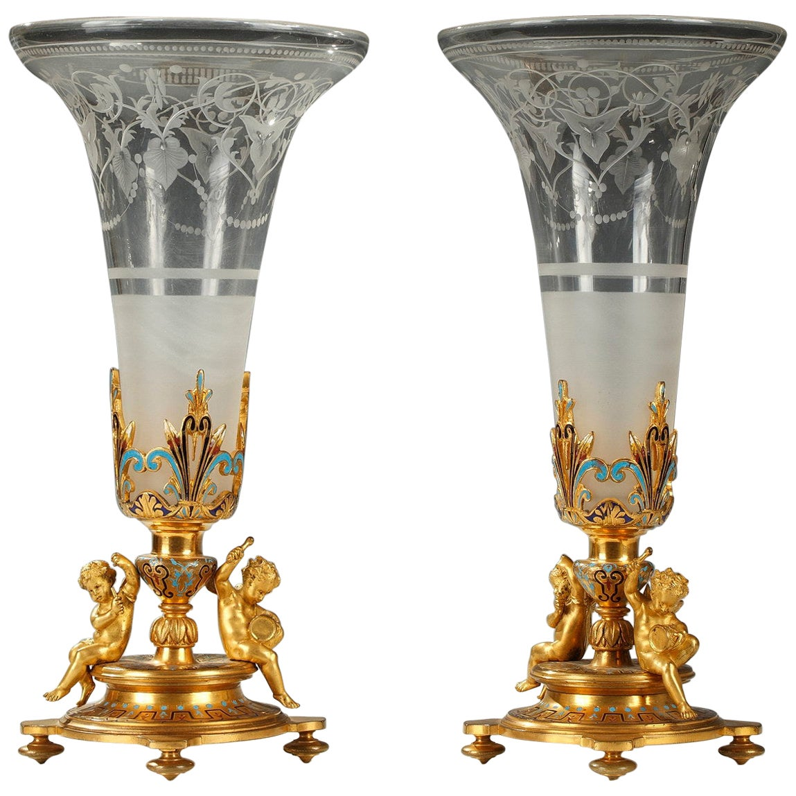 Pair of Trumpet Vases A. Giroux