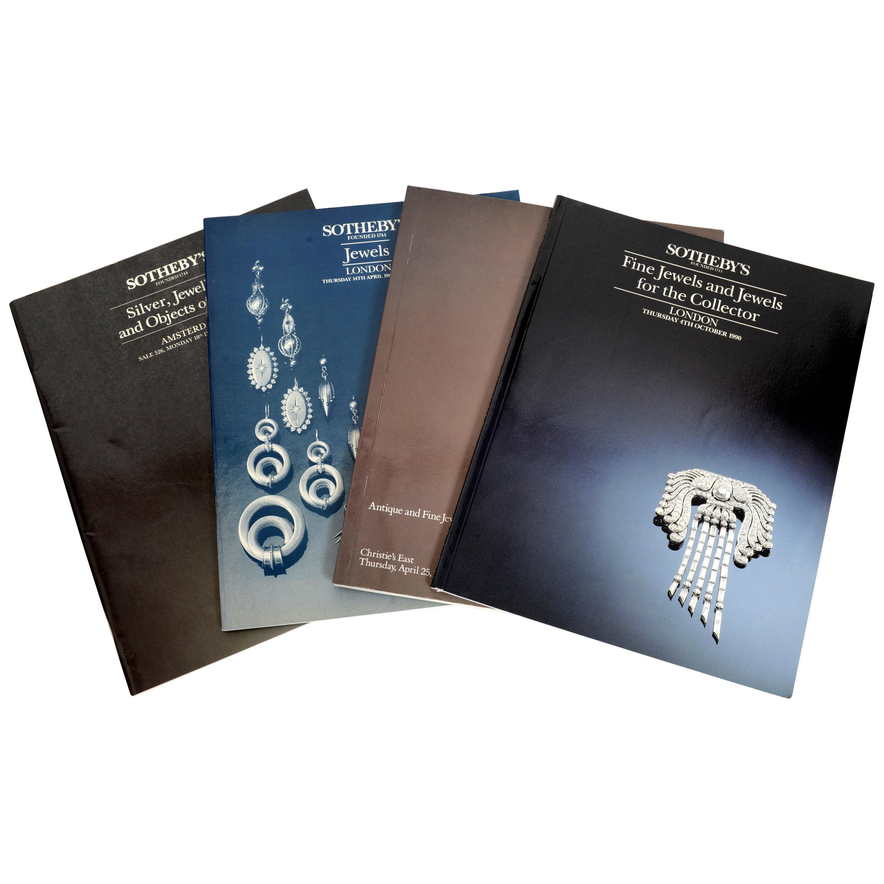 Set of 4 Jewelry Catalogues from Sotheby's & Christie's, First Edition