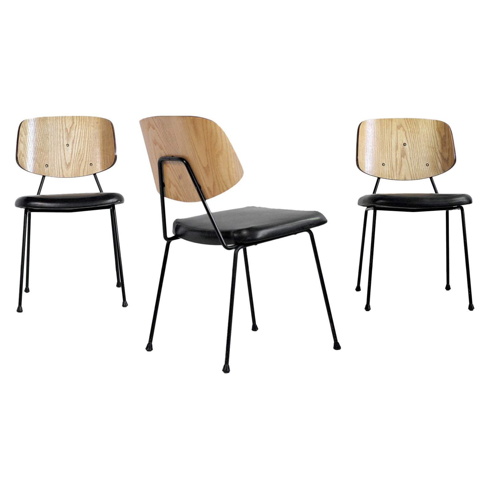 Thonet, Set of 3 Chairs, France, 1950