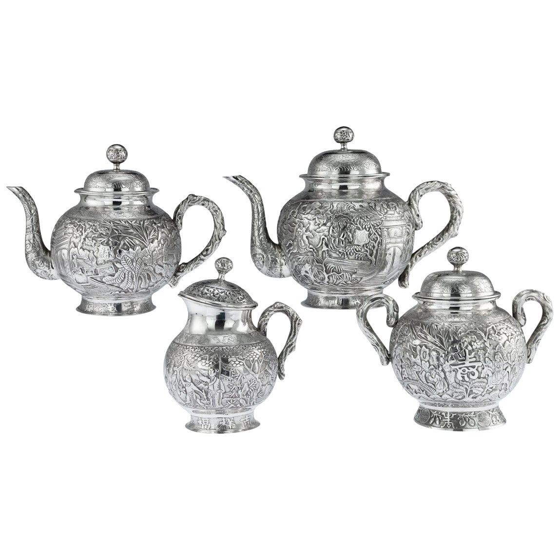 19th Century Chinese Exceptional Solid Silver Tea Service, Hong Kong, circa 1890