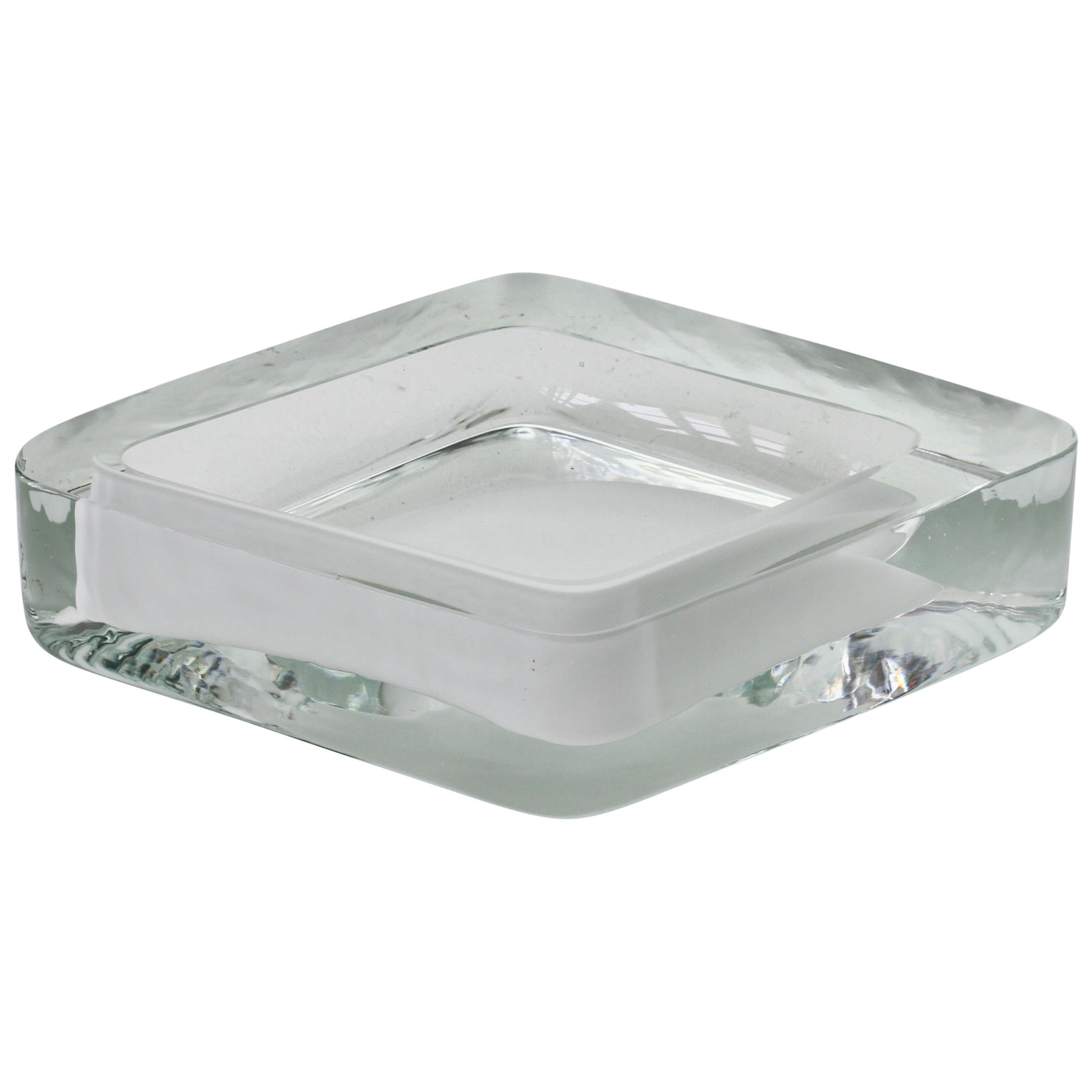 Large Cenedese Italian Rhombus White and Clear Murano Glass Bowl, Dish, Ashtray